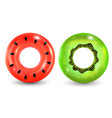 group of colorful pool ring isolated on white vector image