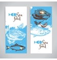 Hand drawn sketch seafood banners Sea vector image
