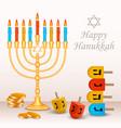 happy jewish hanukkah concept background vector image