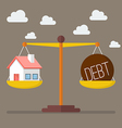 house and debt balance on scale vector image vector image