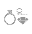 Jewelry Wedding ring Diamond Icon set vector image vector image