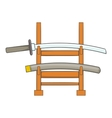 Katana on a wooden stand icon cartoon style vector image vector image