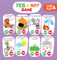 logic kid learn yes no game printable worksheet vector image vector image