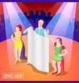 magic show isometric background vector image vector image