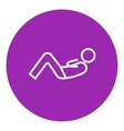 Man doing abdominal crunches line icon vector image