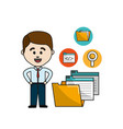 man with digital folder file and documets icons vector image vector image
