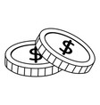 money coins currency isolated icon white vector image