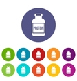Nutritional supplement for athletes set icons vector image vector image