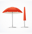 realistic 3d detailed red summer cafee umbrella vector image