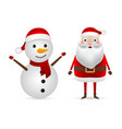 santa claus and snowman in a cap stand on a white vector image vector image