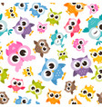 seamless pattern with colorful funny owls vector image vector image
