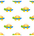 seamless pattern with toy turtle on wheels vector image vector image
