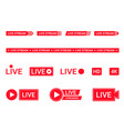 set live streaming icons red symbols vector image vector image