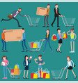 shopping people icons vector image vector image