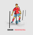 soccer player training with ball between vector image vector image