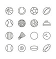 sports balls set icon outline footbal bas vector image