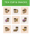 tea cup with tea bag and different fast food vector image vector image