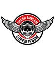 template emblem racer club skull vector image vector image