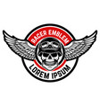 template of the emblem of racer club skull with vector image vector image