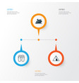 tourism icons set collection of shipping tour vector image