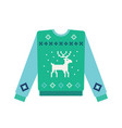ugly christmas sweater with knitted deer and snow vector image vector image