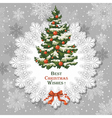 vintage christmas card with decorated spruce vector image vector image