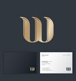 w monogram wind symbol golden letter w bent vector image