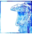 watercolor animal background in a blue color head vector image vector image