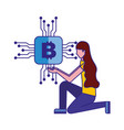 woman on the knee with bitcoin digital vector image vector image