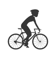 silhouette person riding bike with helmet icon vector image