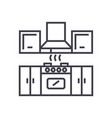 kitchen furniture line icon si vector image