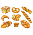 bakery bread and pastry desserts sketch food vector image