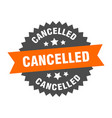 cancelled sign cancelled orange-black circular vector image vector image