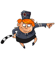 cartoon funny woman in the form of a traffic cop vector image vector image