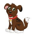 Cartoon smiling dark brown spotty puppy vector image vector image