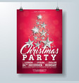 christmas party flyer with silver vector image