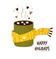 colorful card with cup cocoa and marshmallow vector image vector image