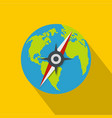 compass on earth icon flat style vector image vector image