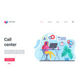 customer support help call center landing page vector image vector image
