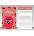 cute pink notebook with girl monster vector image vector image