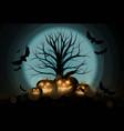 dark cute halloween pumpkins and big tree vector image vector image