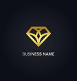 diamond geometry shape line gold logo vector image