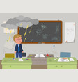 dirty school classroom and angry teacher vector image vector image