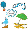 drawn colored picture with beach stuff vector image vector image