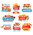 fast food icons with street meals vector image vector image