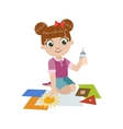 Girl Gluing The Paper Application vector image vector image