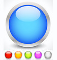 glossy colorful circles with metallic frame vector image
