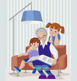 grandmother and kids vector image