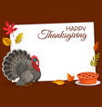 happy thanksgiving frame turkey and pie vector image vector image