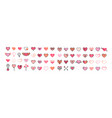 heart icon big set flat pink and thin black vector image vector image